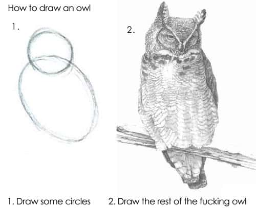 meme making it seem easy to draw a complex owl
